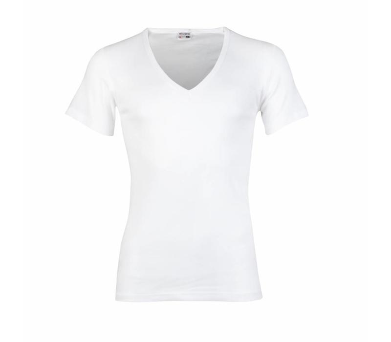 heren T-shirt diepe V-Hals M3000 wit