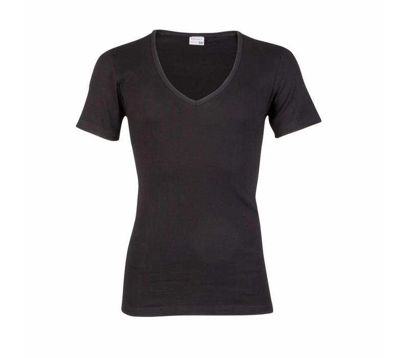 heren T-shirt diepe V-Hals M3000 zwart