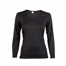 dames shirt thermo lange mouw zwart