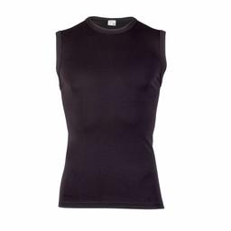 heren extra lang mouwloos shirt zwart