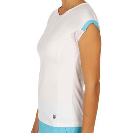 K Swiss K-Swiss 66 Cap Sleeve Ladies Top White/Button Blue XS