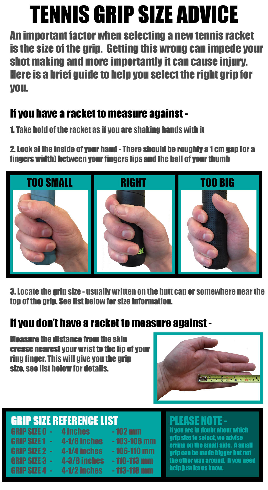 Gannon Sports Tennis Grip Size Advice Gannon Sports