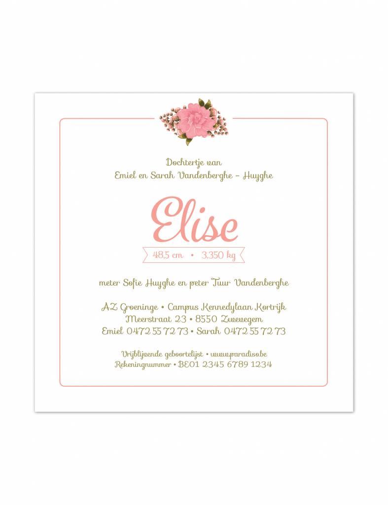 Geboortekaartje Elise, roze met bloemen