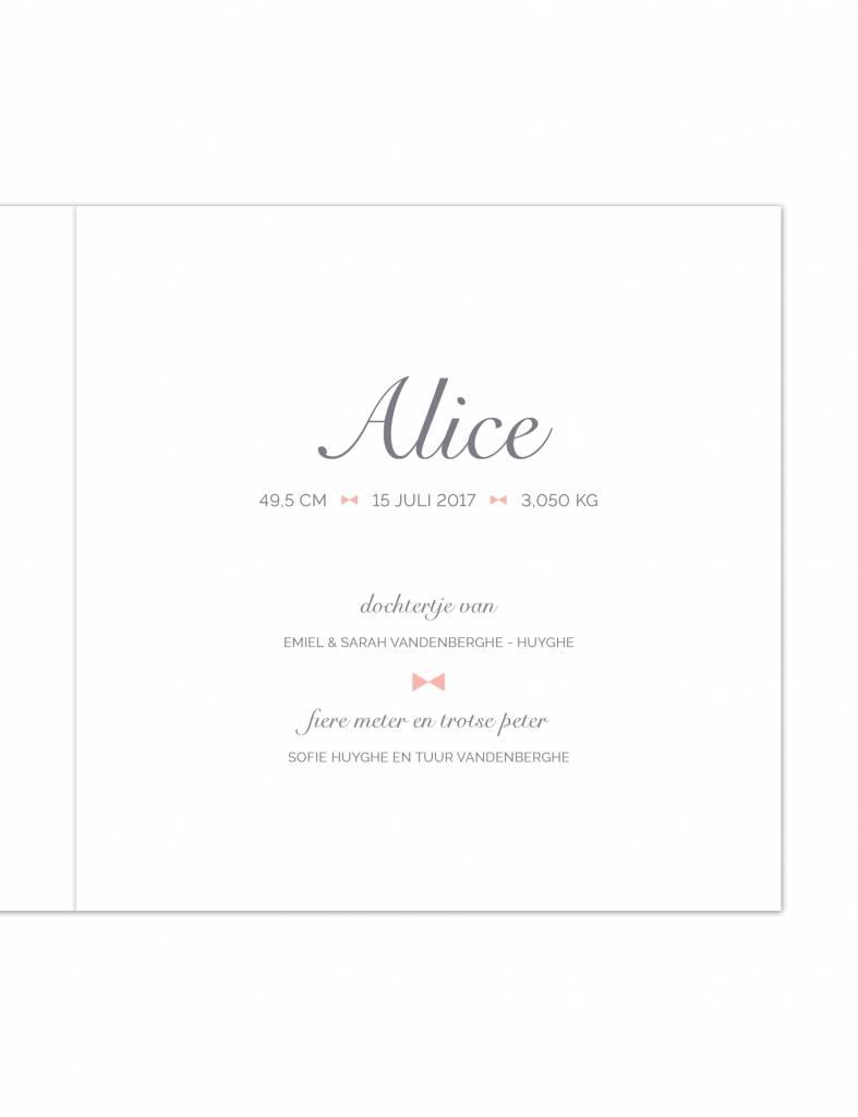 Geboortekaartje Alice met strikje