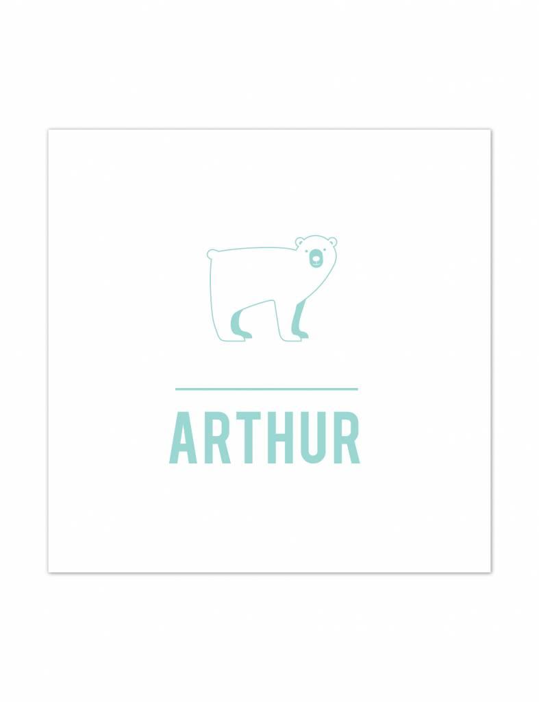 Geboortekaartje Arthur met ijsbeer