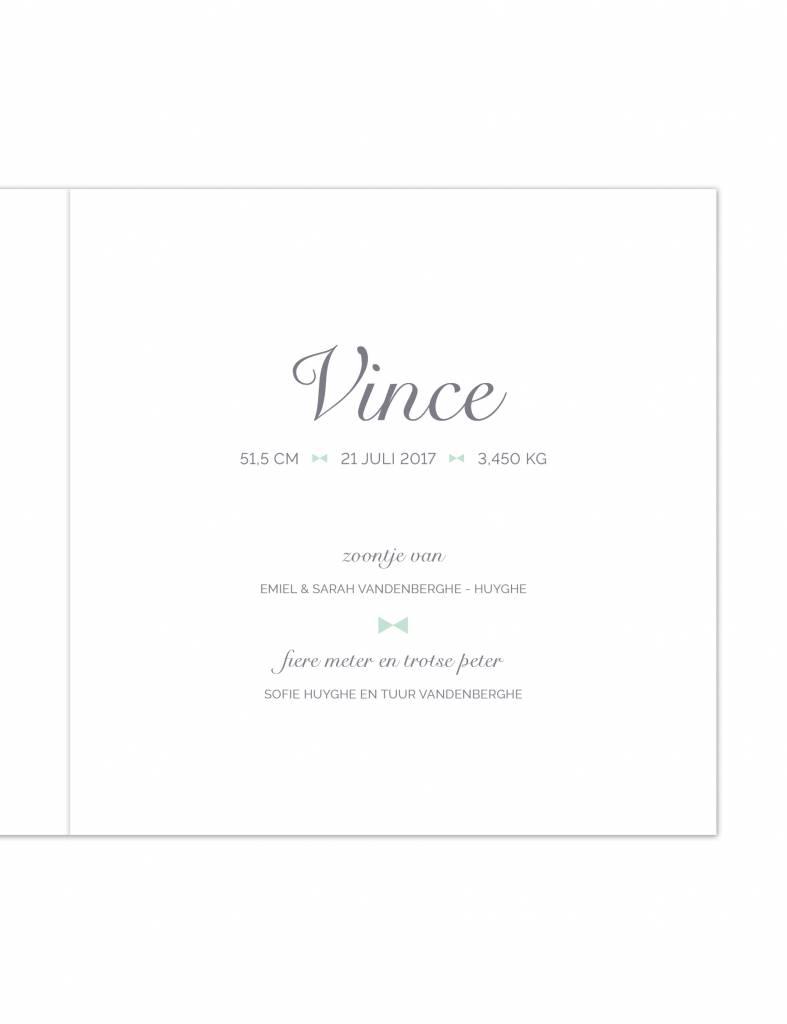 Geboortekaartje Vince met strikje