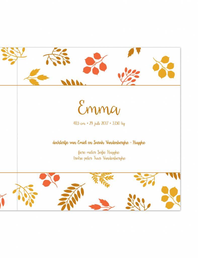 Geboortekaartje Emma herfst-bloem