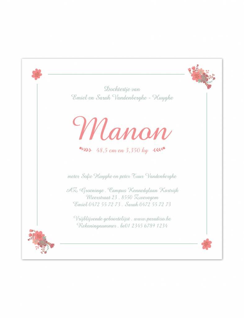 Geboortekaartje Manon retro