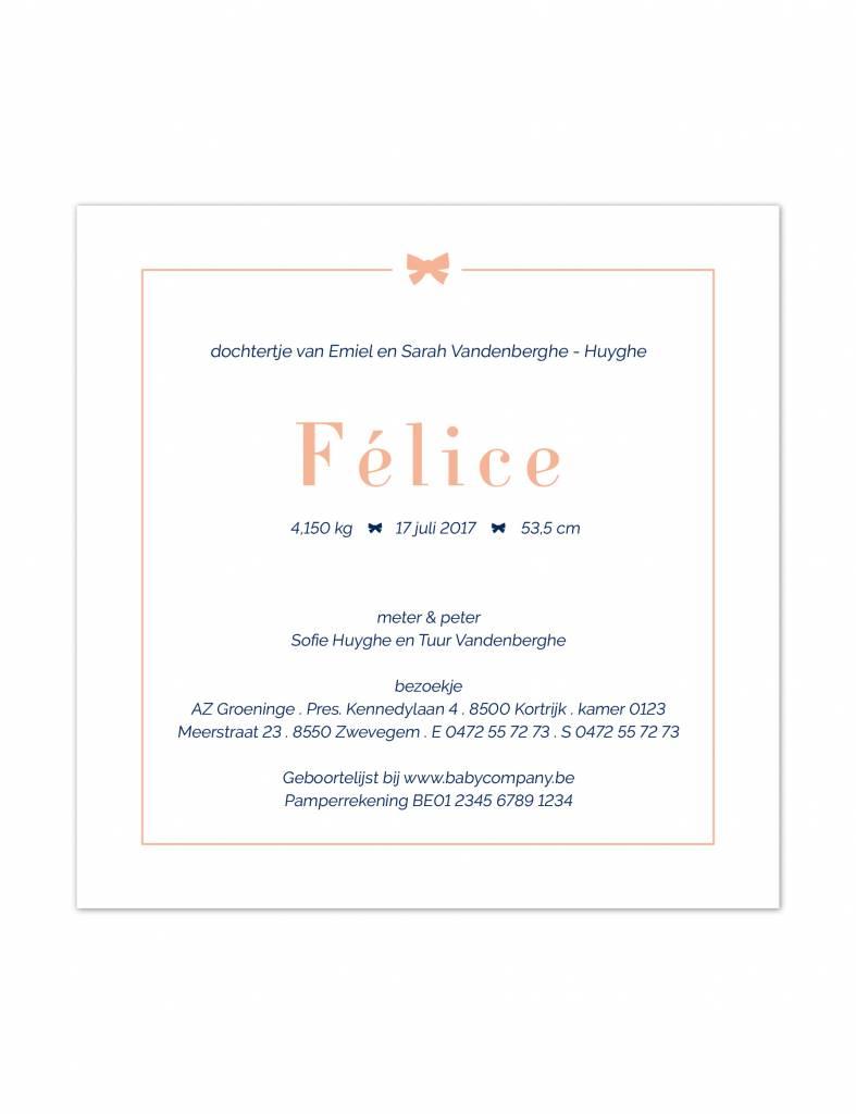 Geboortekaartje Félice strikje