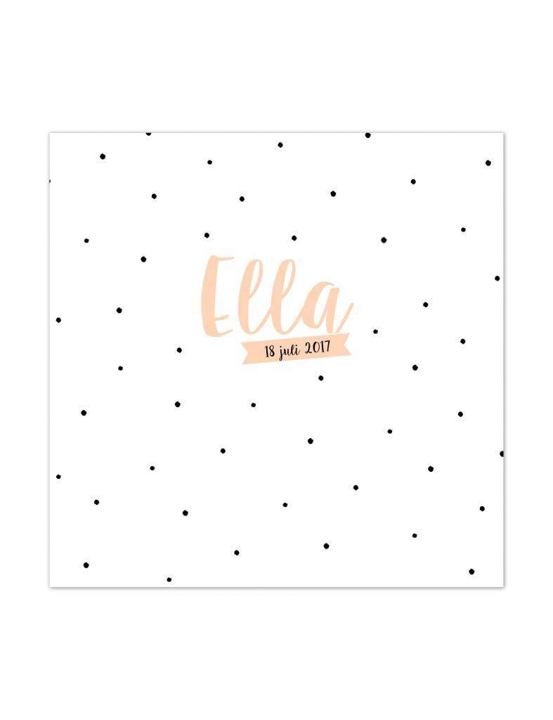 Geboortekaartje Ella met stipjes