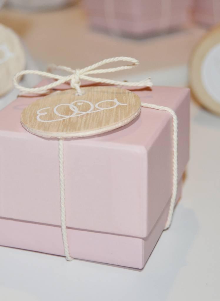 Vierkant roze doosjes voor doopsuikers