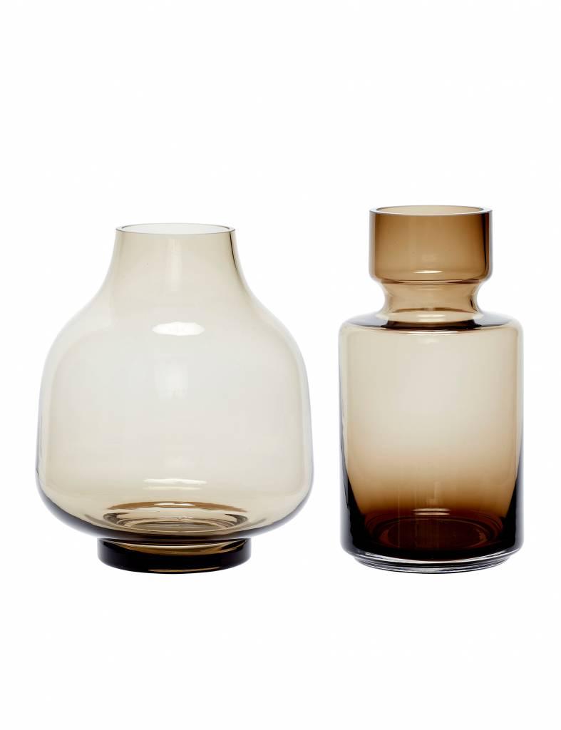 Bruine glazen vazen - Hübsch - Set van 2
