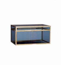 Glazen kist blauw-goud groot