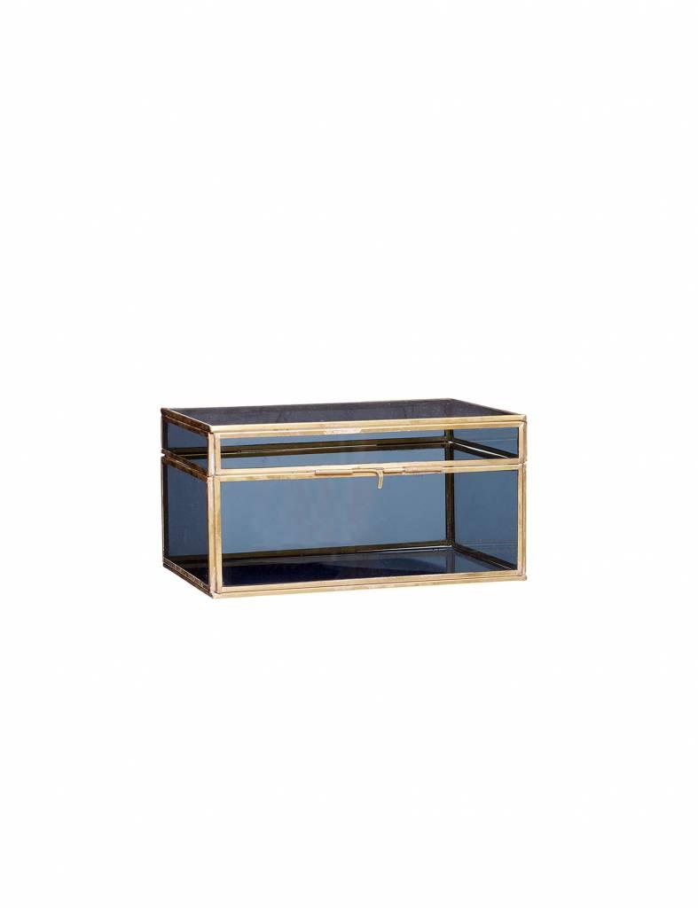 Glazen kist blauw-goud medium - Hübsch