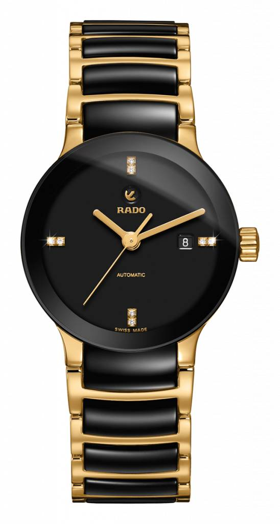 RADO Centrix S Automatic Black Dial Black Ceramic Ladies Watch