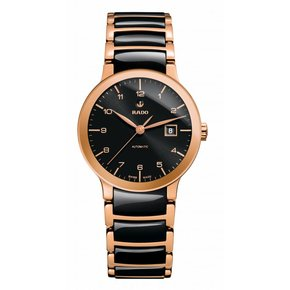 RADO Centrix Automatic Rose Gold-tone and Black Ceramic Ladies Watch
