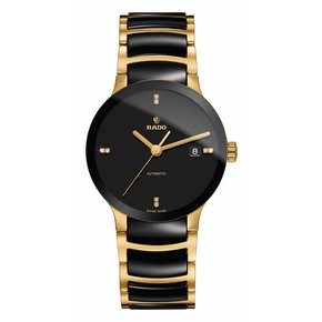 RADO Centrix Black Dial Gold-plated and Black Ceramic Men's Watch