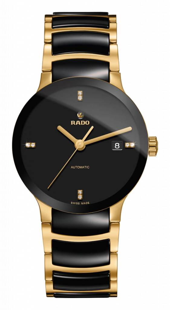 RADO Centrix Zwart Gold-verguld and Zwart Ceramic Herenhorloge
