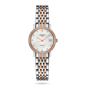 Longines Eleganrt Collection Mother Of Pearl Dial Stainless Steel and 18k Rose Gold Band Automatic Ladies Watch