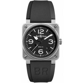 Bell & Ross Aviation Black Dial Steel Case Automatic 42 MM Men's Watch BR-03-92-STEEL