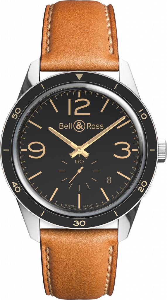 Bell & Ross Heritage Automatic Black Dial Golden Tan Leather Men's Watch RBRV123-GH-ST-SCA