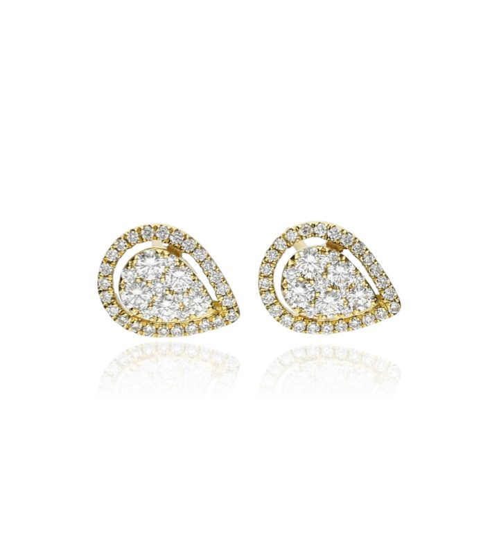 Zazare Earrings 18 Krt. Yellow Gold Brilliant