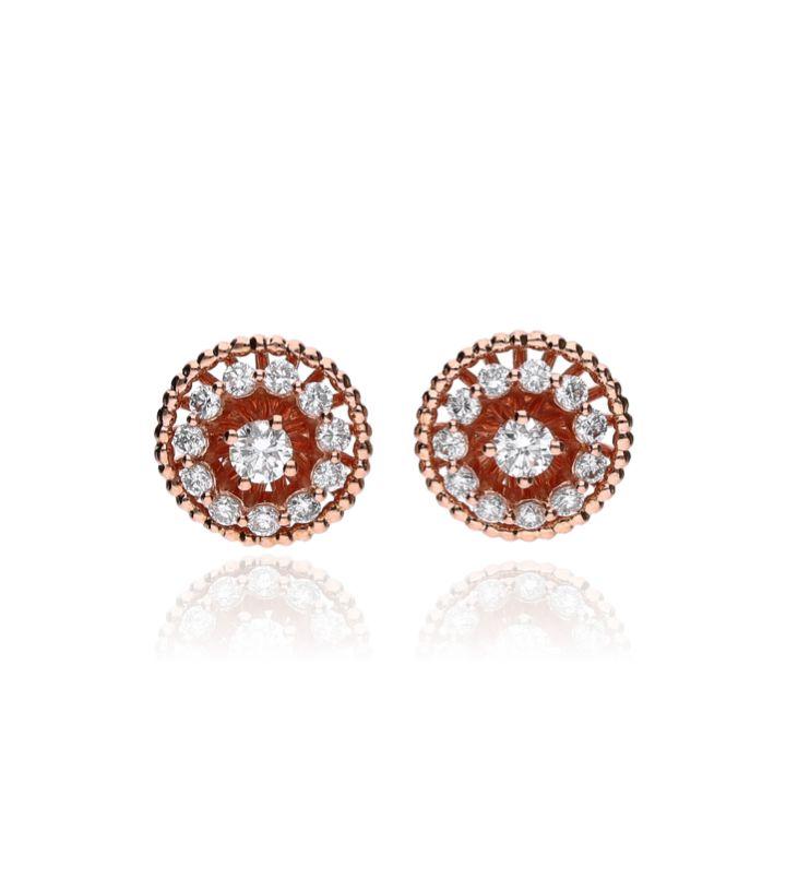 Zazare Earrings 18Krt. Rose Gold Brilliant