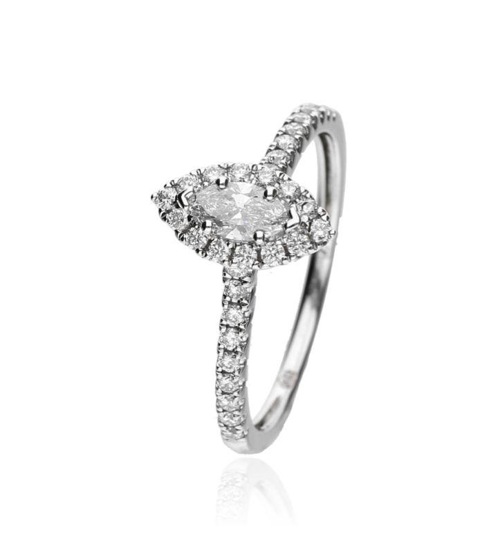 Zazare Ring 18Krt. White Gold Marquise