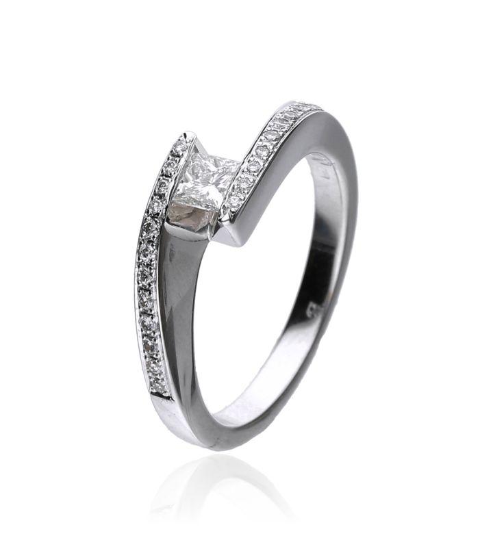 Zazare Ring 18Krt. White Gold Princess