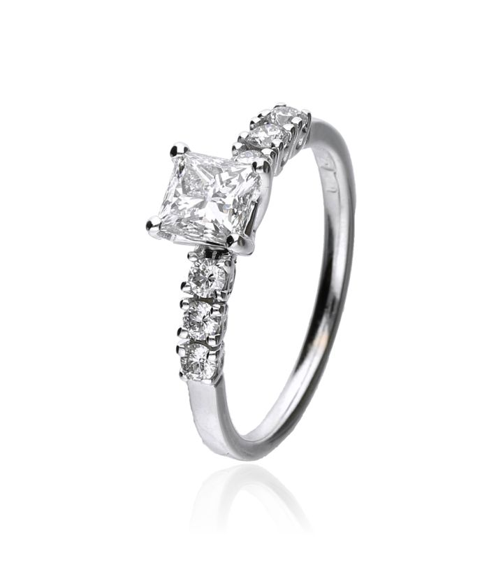 Zazare Ring 18Krt. Witgoud Princess
