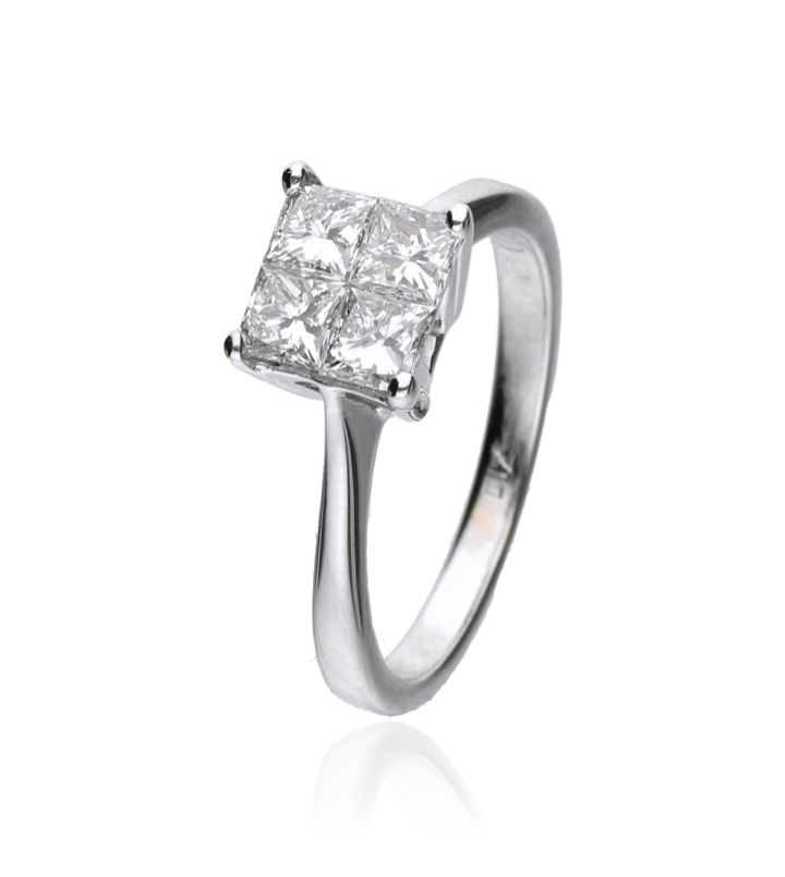 Zazare Ring 18Krt. White Gold Princess