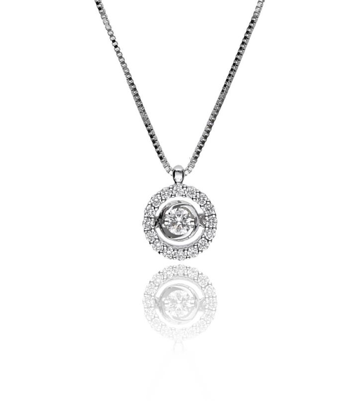 Zazare White gold swinging diamond pendant 18KT