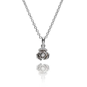 Zazare White gold small flower pendant 18KT