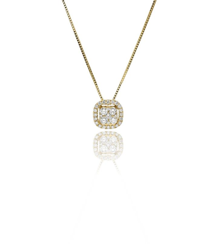 Zazare Yellow gold square pendant 18KT