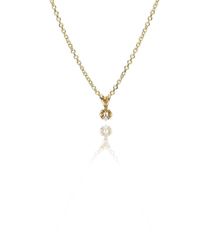 Zazare Yellow gold solitair pendant 18K