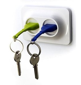 Qualy Unplug Key Ring Duo - Groen/Blauw