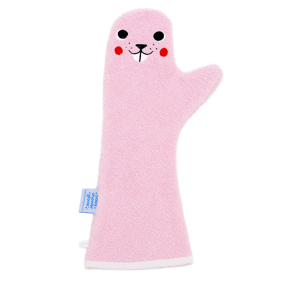 Baby Shower Glove Douchehandschoen Bever Roze