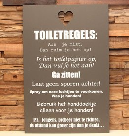 DDVM Tekstbord Toiletregels Ga Zitten