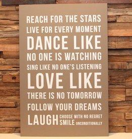 DDVM Tekstbord Dance, Love, Laugh