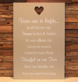 DDVM Tekstbord Voor Ons Is Liefde