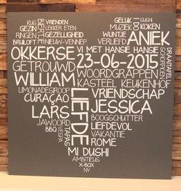 DDVM Tekstbord Woordenhart 40 x 40 cm
