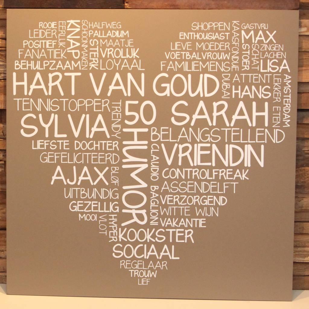 DDVM Tekstbord Woordenhart 60 x 60 cm
