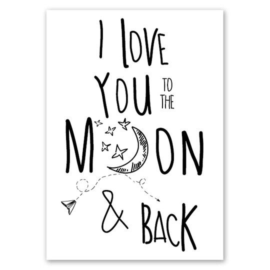 Jots Kaart A5 Love You To The Moon De Dochter Van Mies