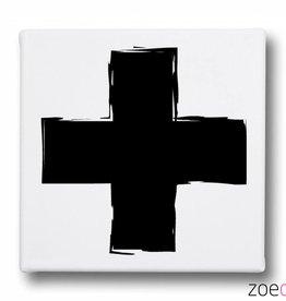 Zoedt Canvasdoek Met Plus In Wit Zwart