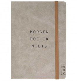 Zusss Notitieboek Van Leer Morgen Doe Ik Niets Poedergrijs