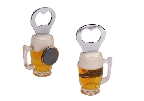 Metal bottle opener, plastic beer glass with magne