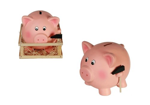 Terracotta savings box, Jumbo Pig with Hammer