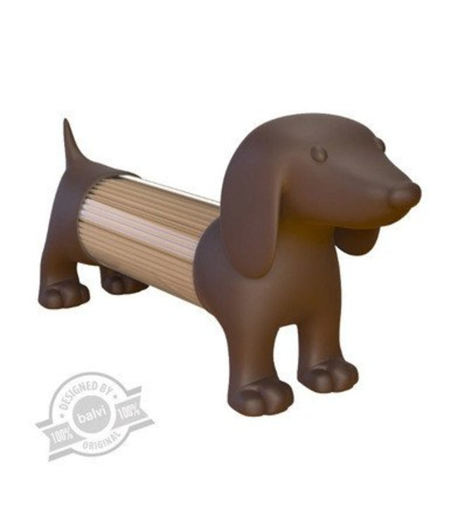 Balvi Teckel brown toothpick holder salt pepper shaker