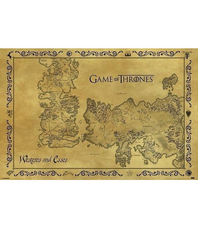 GAME OF THRONES ANTIQUE MAP