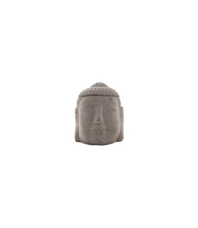 concrete buddha burner with white ceramic dish